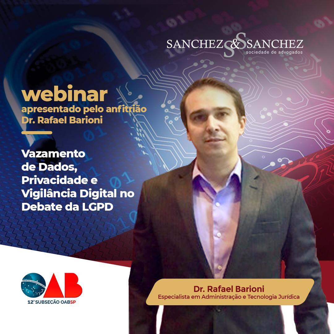 26/04 às 19h30 webinar apresentado pelo anfitrião  Dr. Rafael Barioni