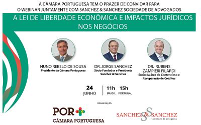 """Webinar: """"Lei de Liberdade Econômica e Impactos Jurídicos nos Negócios"""". Dia 24/06/2021"""